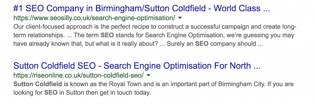 sutton coldfield seo example